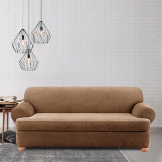 stretch morgan 1 piece sofa furniture cover elliot fabric microfiber sectional 3 chaise buy sure fit couch slipcovers online at overstock com our stripe 2 t cushion slipcover