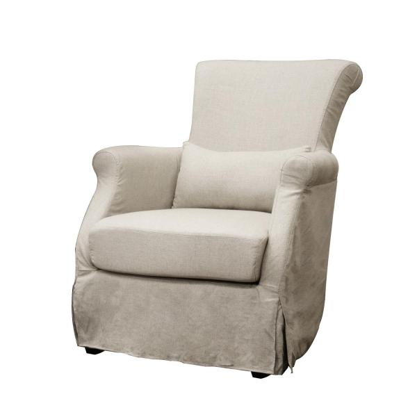 Carradine Beige Linen Slipcover Modern Club Chair - Free Shipping Today 13077154