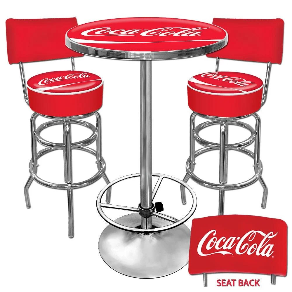 coca cola chairs and tables chair lift recliner medicare shop trademark gameroom vinyl upholstery metal pub table bar stools with backs set free shipping today overstock com 5261026