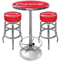 Coca Cola Table Bar Stool Set Lover Vintage Style Pub Feel ...