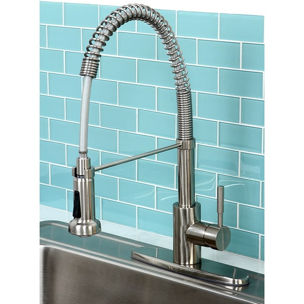 kitchen pull down faucet second hand units shop concord modern satin nickel spiral pulldown free shipping today overstock com 5267368