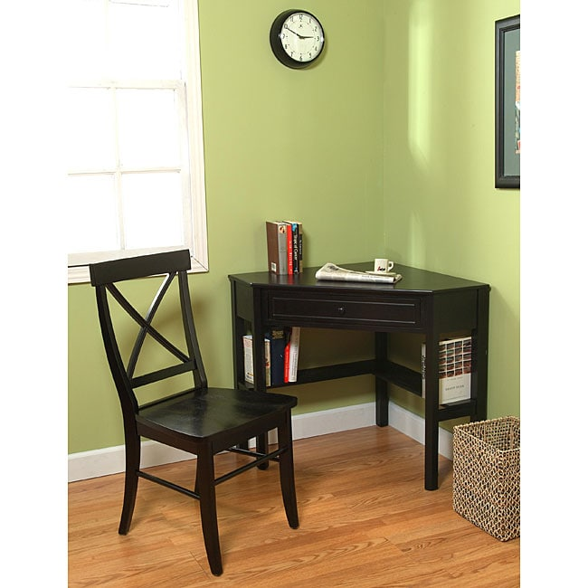 Simple Living Black Corner Desk and Crossback Chair 2