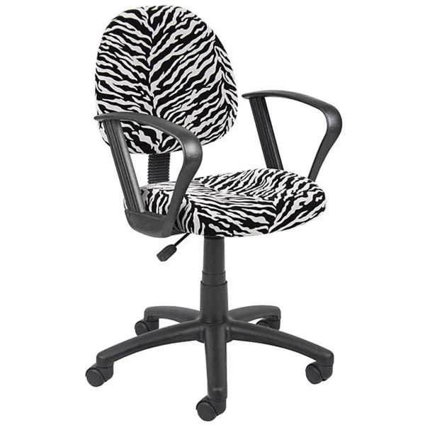 Shop Boss Padded Wheeled Task Chair with Black and White