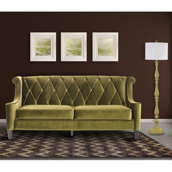 Shop Armen Living Barrister Modern Green Velvet Sofa