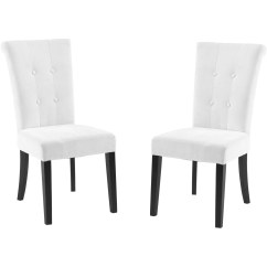 White Fabric Dining Chairs Table And Chair Rentals Orlando Tufted Off Set Of 2
