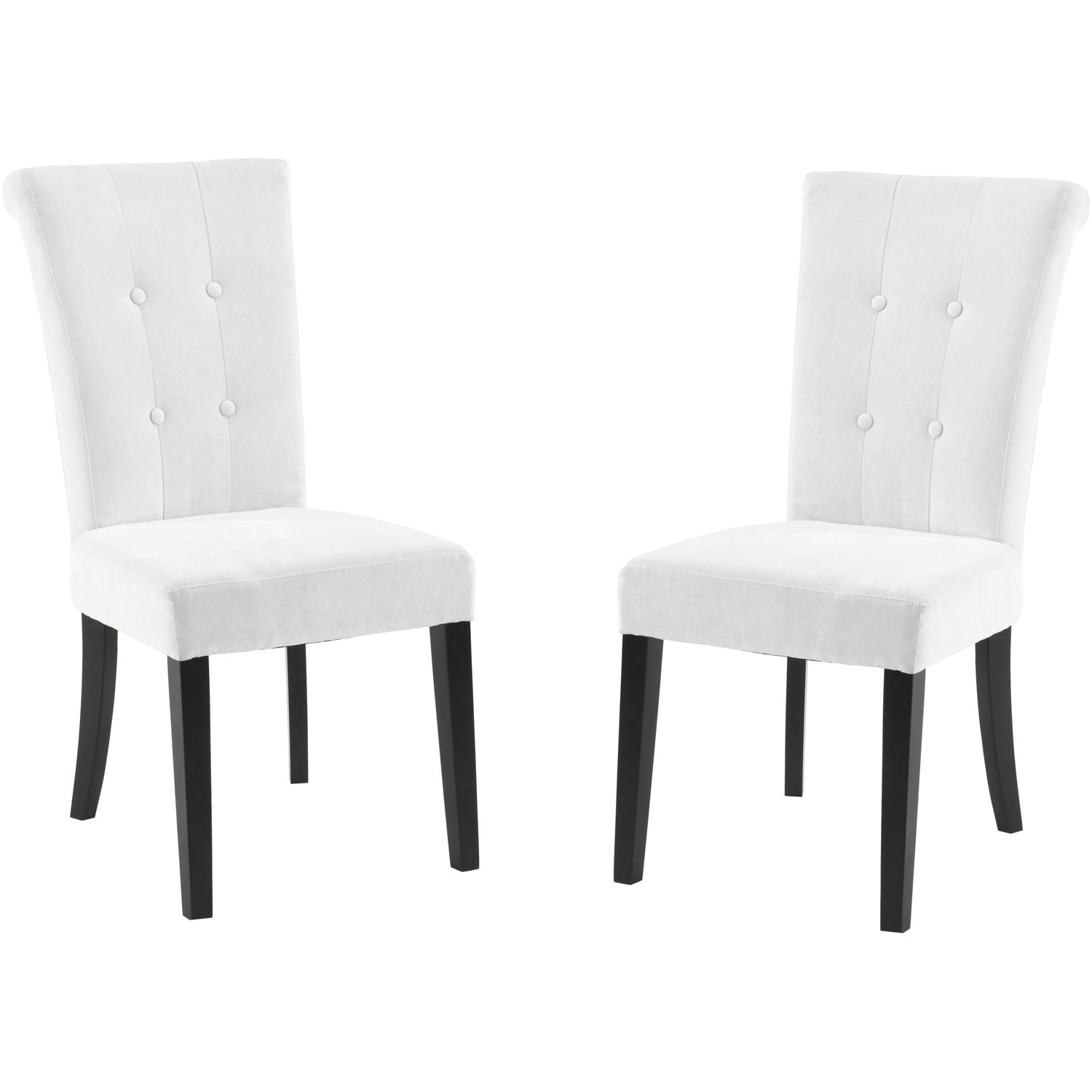 White Fabric Dining Chairs Tufted Off White Fabric Dining Chair Set Of 2