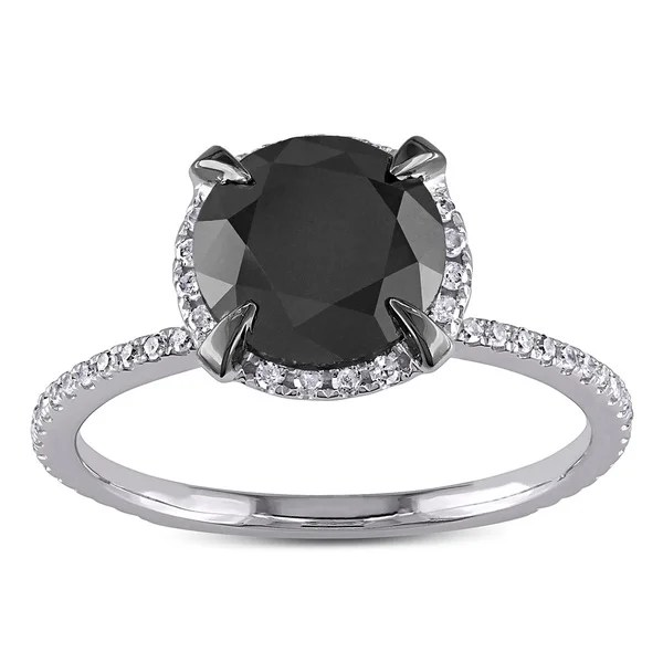 10k White Gold 2 34ct TDW Black And White Halo Diamond