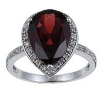 10k White Gold Garnet and 1/5ct TDW Diamond Ring (G-H, I1 ...