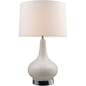Indoor 1-light Chrome and White Table Lamp