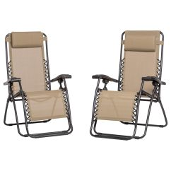 Caravan Canopy Folding Chairs Nautical Desk Chair 2 Pack Zero Gravity Fold Reclining Camping Armrest