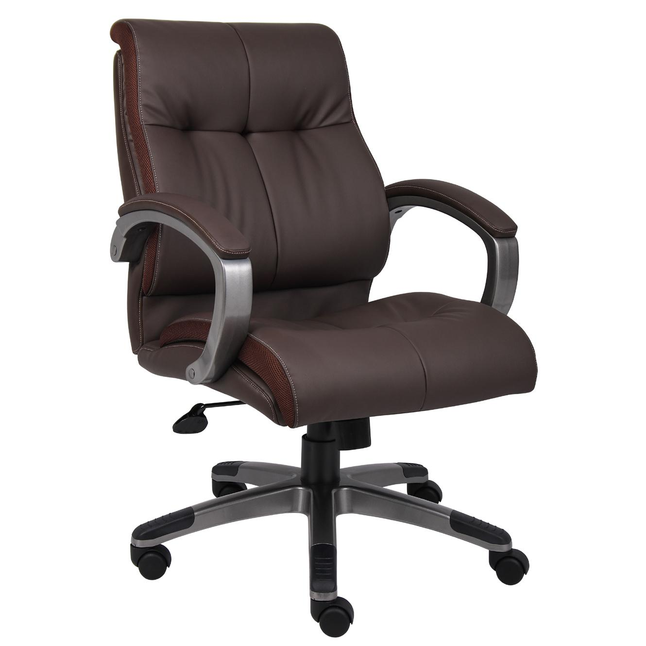 overstock com chairs brown executive office boss double plush mid back chair free shipping today