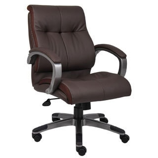 ergonomic chair replacement parts ikea linen covers shop onespace mid back leather office free shipping today boss brown double plush