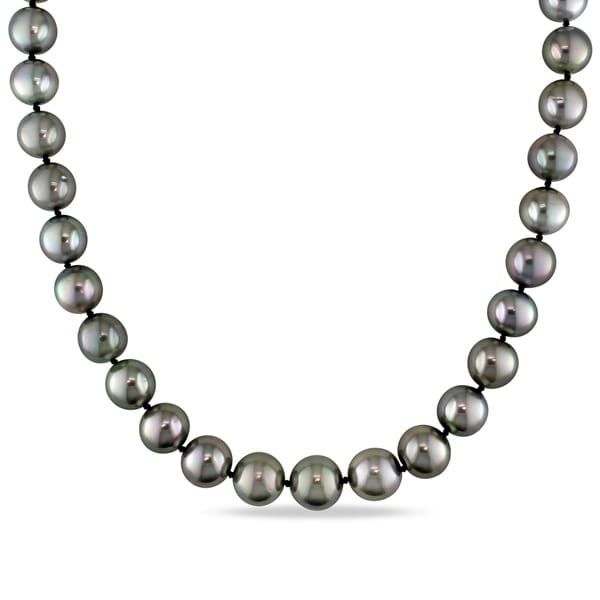 Shop Miadora 14k White Gold Black Tahitian Pearl and