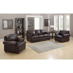 Living Room Sofa Two Chairs False Ceiling Design India Shop Shoreline Chocolate Italian Leather And On