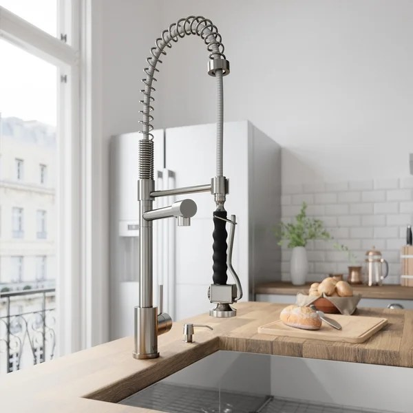 stainless steel kitchen faucet with pull down spray ideas on a budget shop vigo zurich