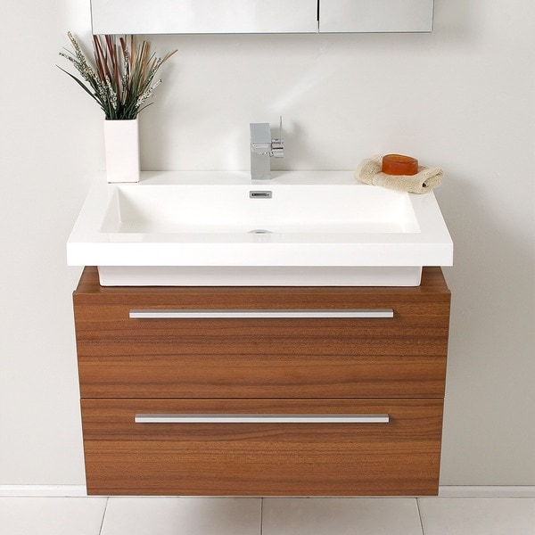 fresca medio teak bathroom vanity with medicine cabinet - free