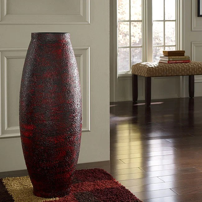 Embossed Red Floor Vase Indonesia  Free Shipping Today