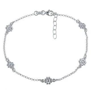 Shop Sterling Silver Adjustable Lucky Elephants Anklet ( 9