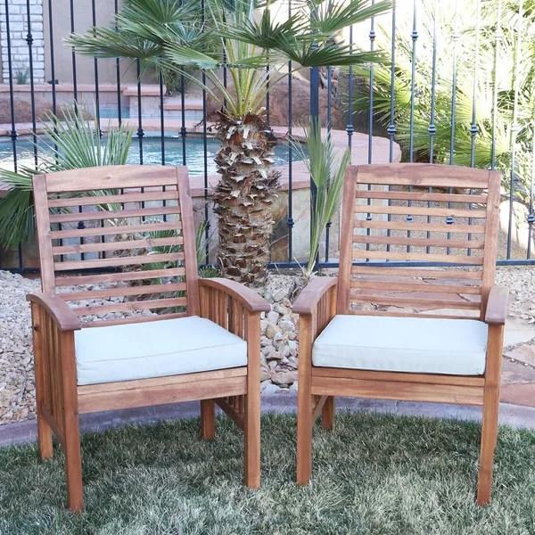 acacia wood patio chairs set of