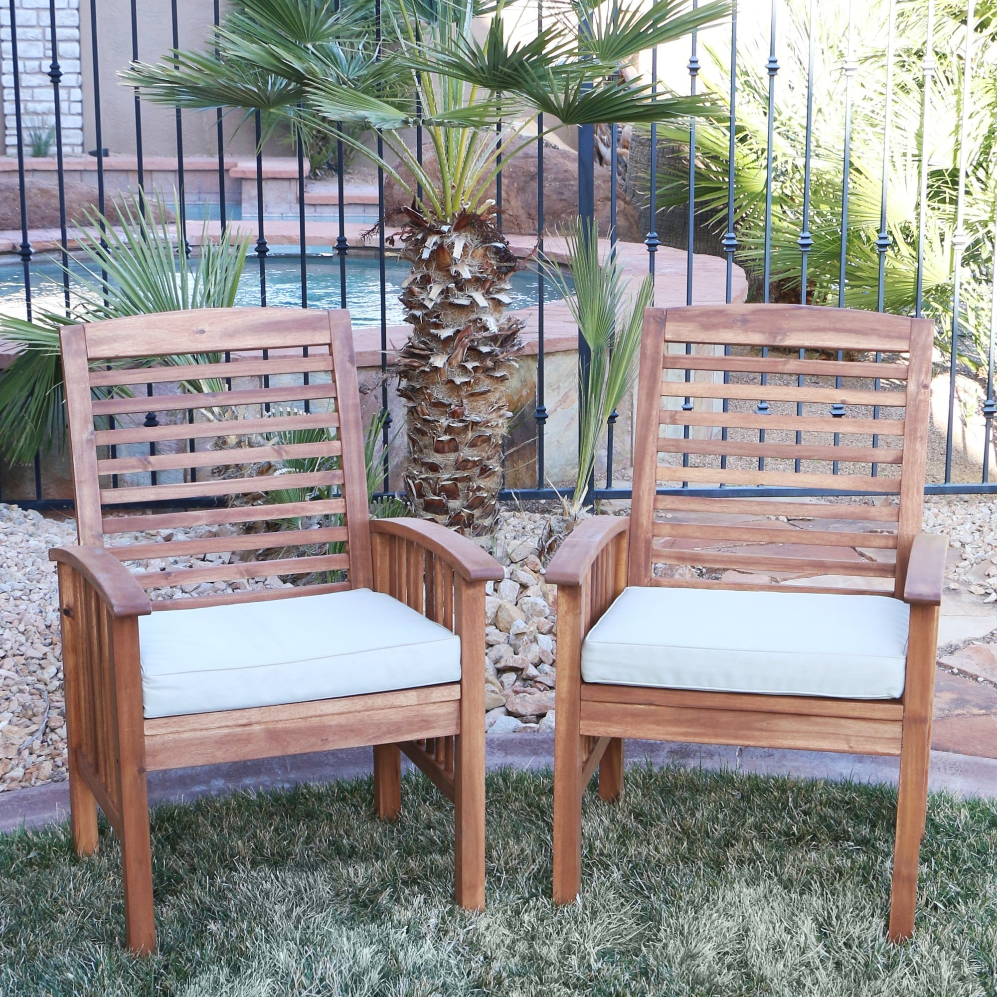 Wood Outdoor Chairs Shop Acacia Wood Patio Chairs Set Of 2 Free Shipping