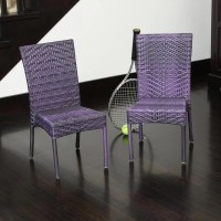 Children's All-weather Purple Wicker Chairs (Set of 2 ...