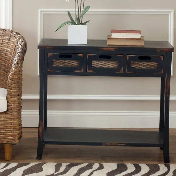 small end tables for living room canada shabby chic designs shop safavieh corby distressed 3-drawer black console ...