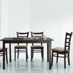 Overstock Com Dining Room Chairs Office Chair No Arms Keitaro Dark Brown 5 Piece Modern Set 13350128