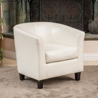 bedroom club chair floating pool lounge chairs buy living room online at overstock com preston bonded leather ivory by christopher knight home