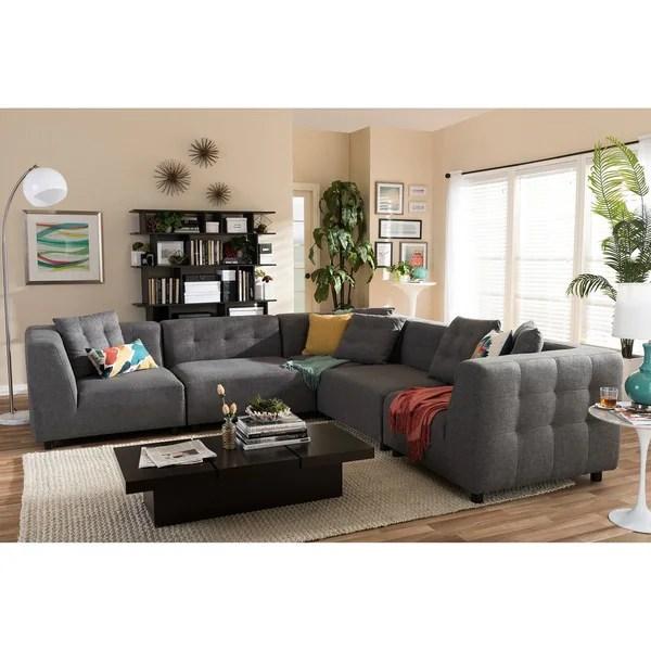 Alcoa Grey Fabric Modular Modern Sectional Sofa  Free