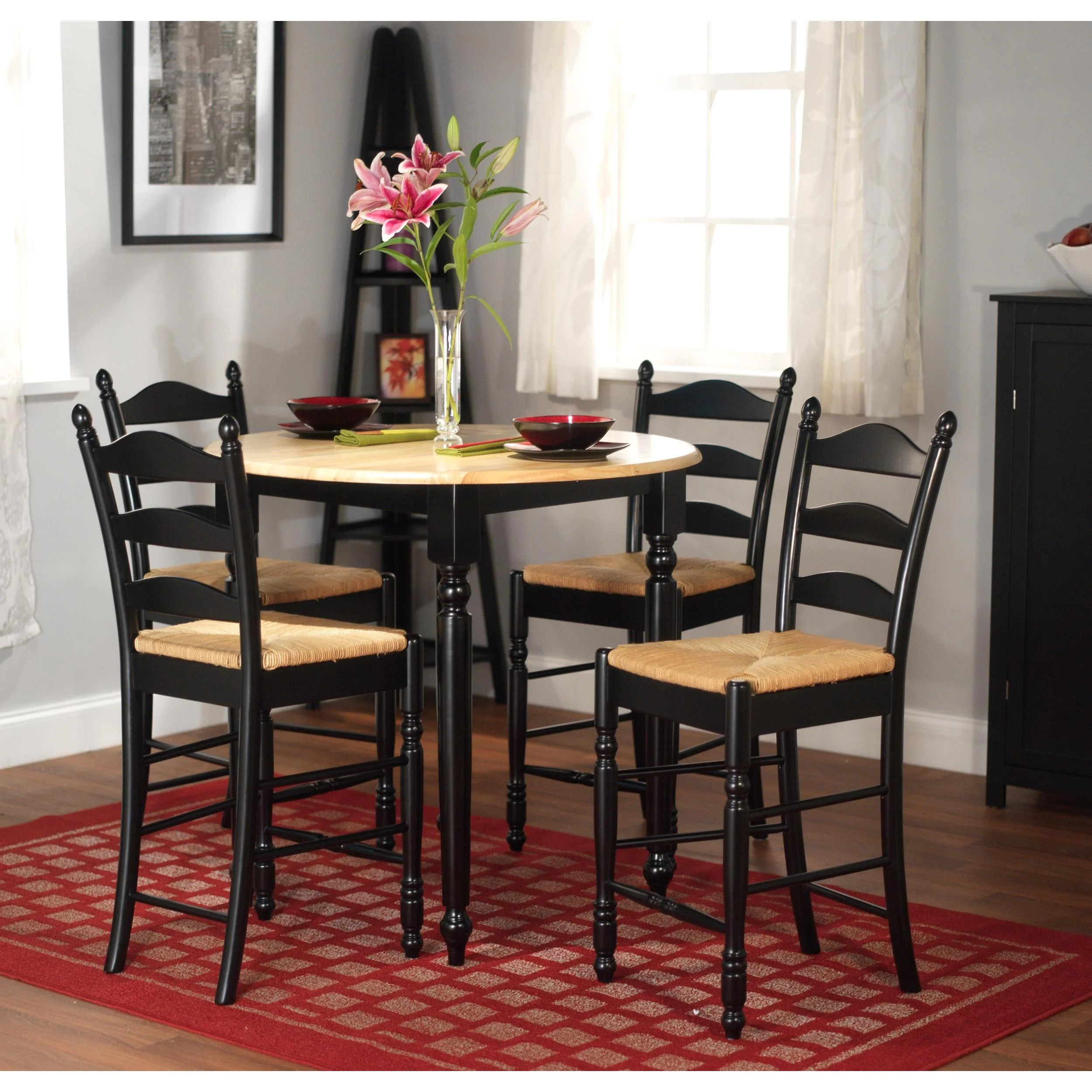 overstock com dining room chairs best zero gravity chair simple living round counter height 5 piece set