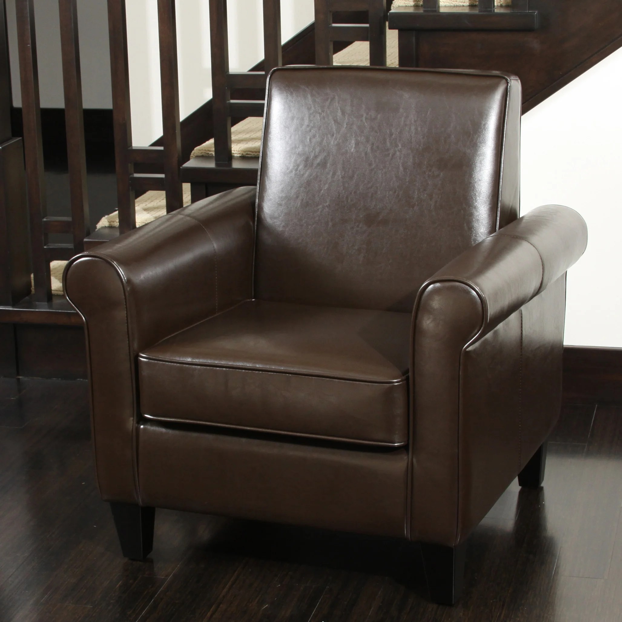 christopher knight chair accent dining room chairs home freemont brown bonded leather club