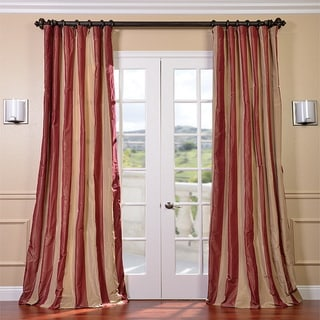 red and tan striped curtains