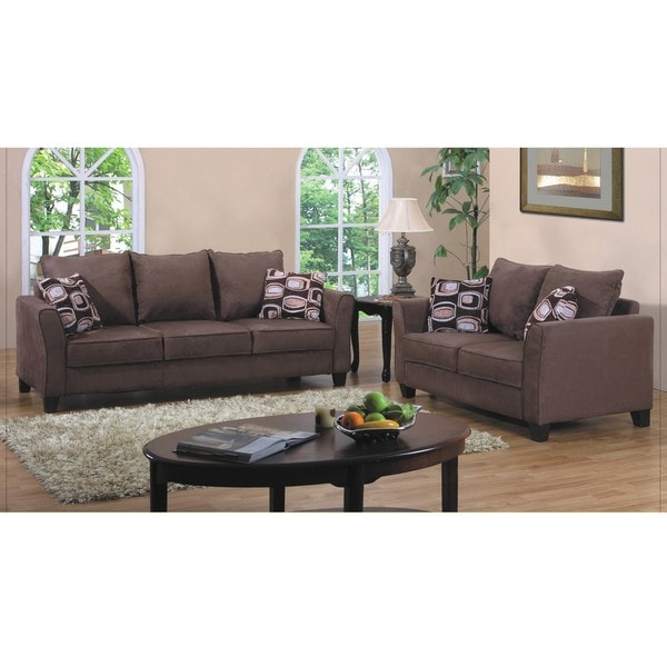 Brown Seat Microfiber Brown Leather Love Faux Plush Dark Sofa Dark