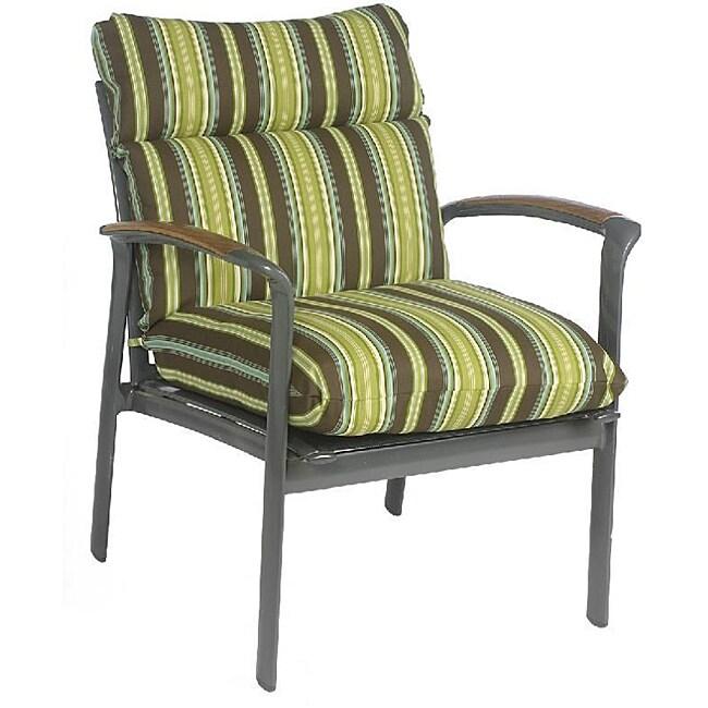 Josi Stripe Brown Lime Green Outdoor Chair Cushion