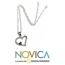 Sterling Silver 'Secret Love' Chrysocolla Heart Necklace