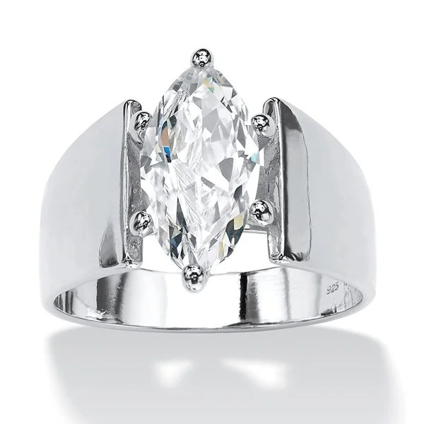Shop Sterling Silver Cubic Zirconia Wide Band Solitaire