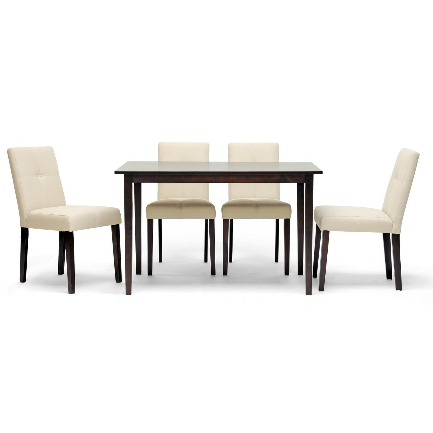 overstock com dining room chairs wobbly office chair baxton studio elsa brown wood 5 piece modern set