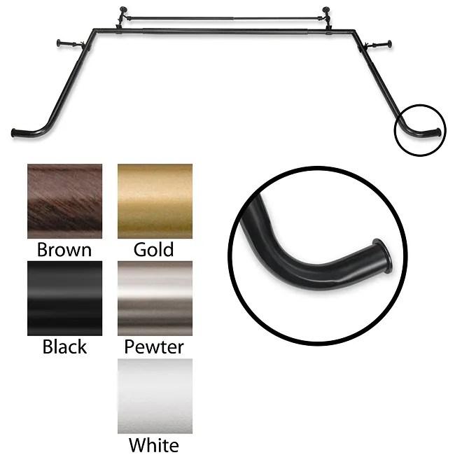 Pinnacle Bay Window 1 Inch Diameter Double Curtain Rod Set Free