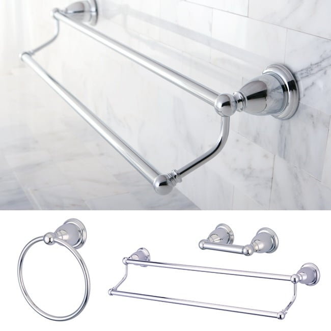 Heritage Chrome 3-piece Double Towel Bar Set