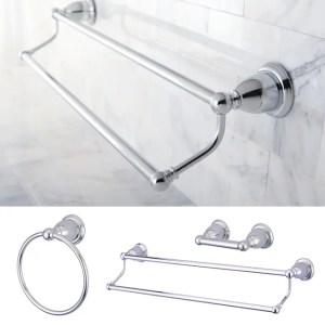 Heritage Chrome 3-piece Double Towel Bar Set