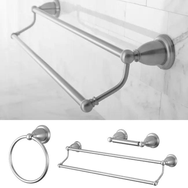 Heritage Satin Nickel 3-piece Double Towel Bar Set