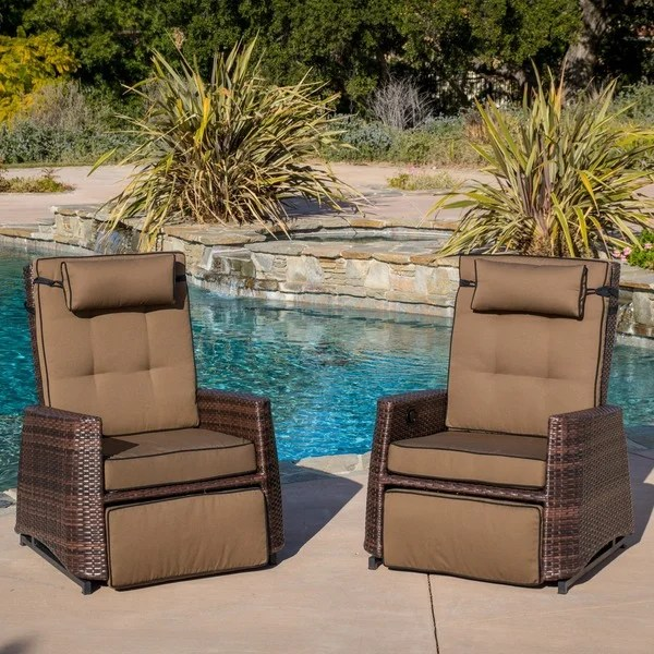 wicker reclining patio chair black cross back chairs shop outdoor brown recliners set of 2 by christopher knight home