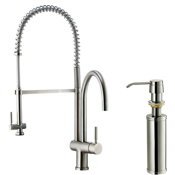 coiled kitchen faucet corner cabinets vigo dresden stainless steel pull-down spray ...
