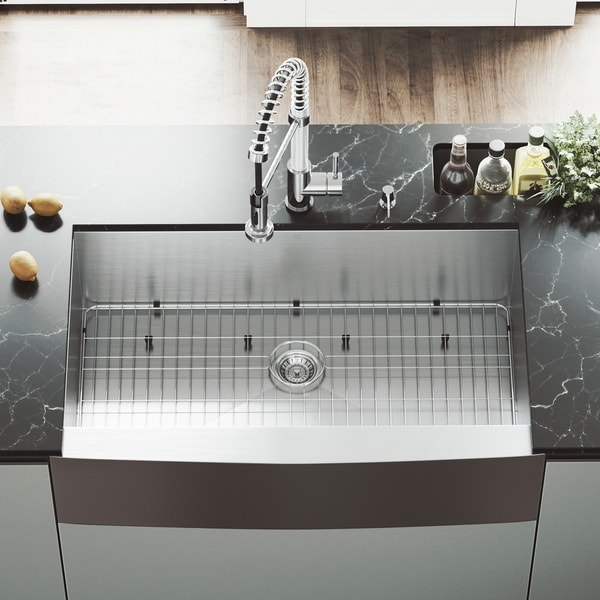 36 inch kitchen sink island countertops shop vigo camden stainless steel grid and strainer