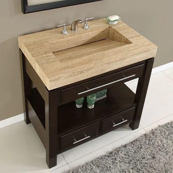 silkroad exclusive travertine top single stone sink bathroom