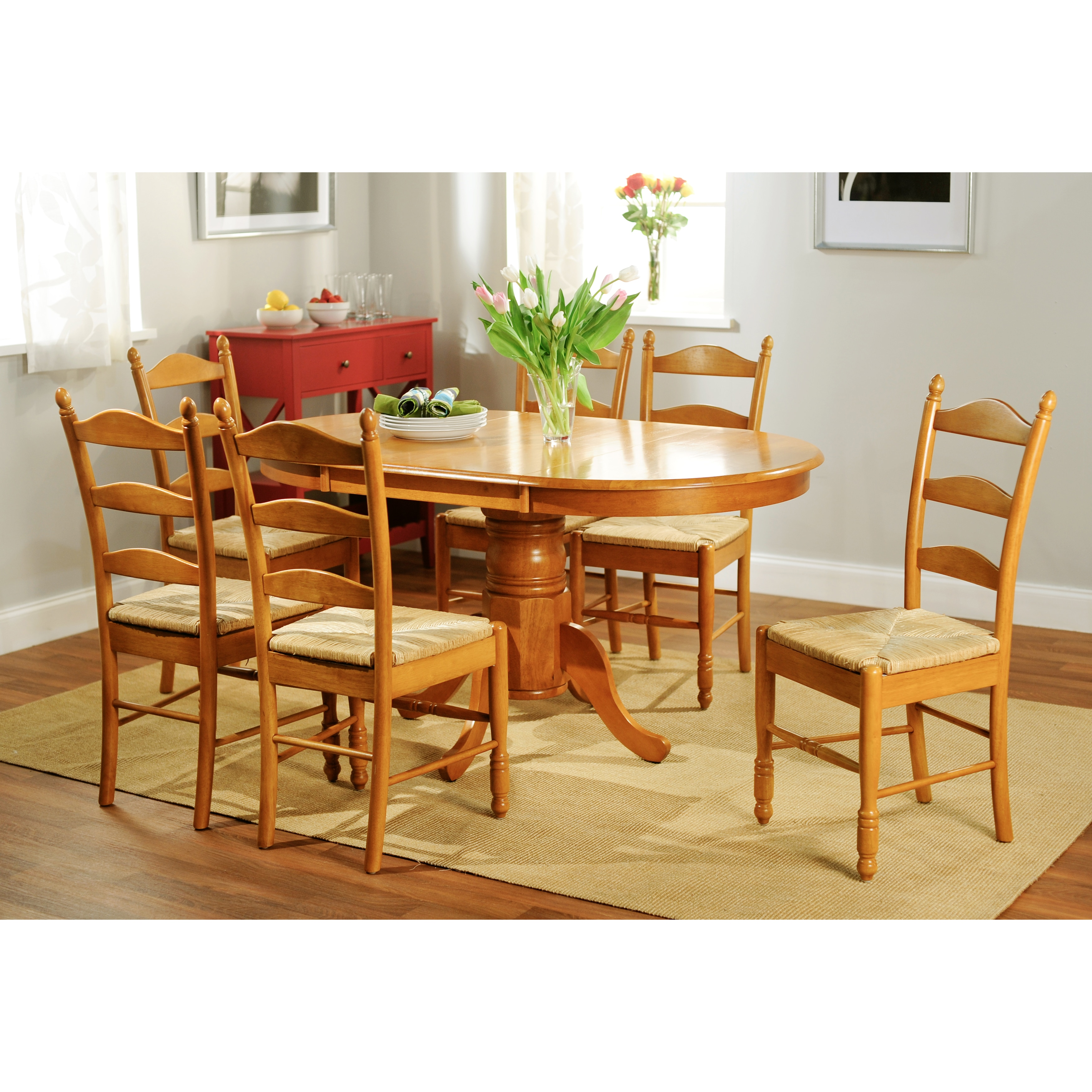overstock com dining room chairs wood lawn chair shop simple living oak finish 7 piece ladderback