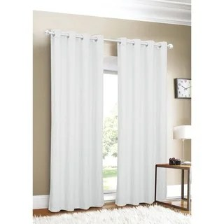 Luxury Linen Grommet Top 96 Inch White Curtain Panel Free