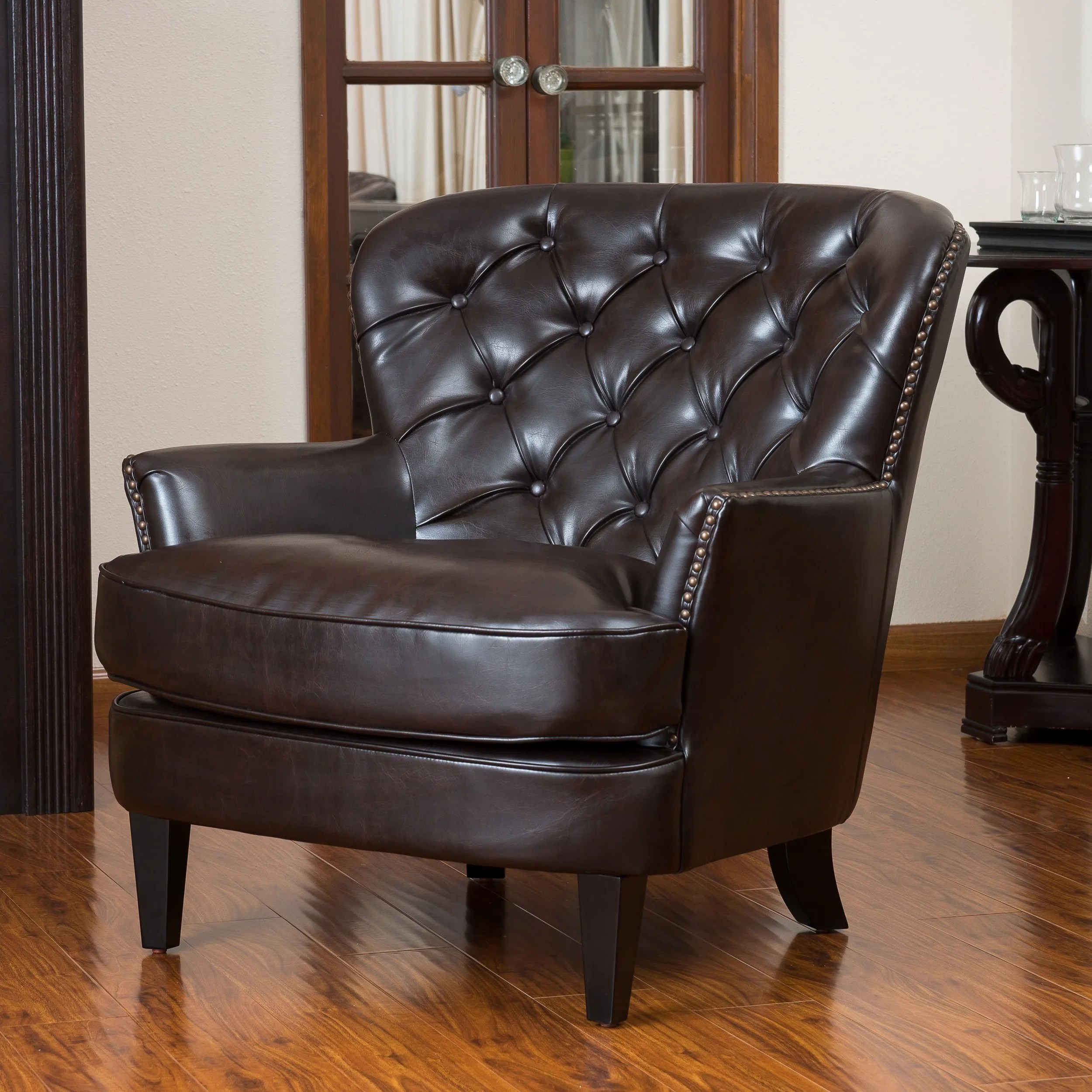Oversized Brown Leather Chair Wide Seat Button Tufted Sofa