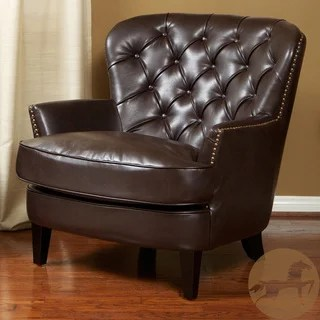 christopher knight leather chair small gaming home tafton tufted brown club - overstock shopping great ...