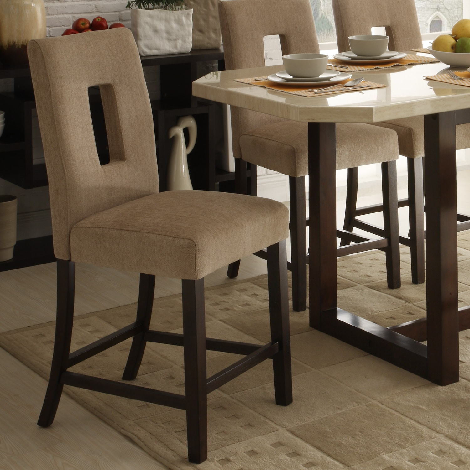 Upholstered Bar Chairs Camille Beige Fabric Upholstered Counter Height High Back